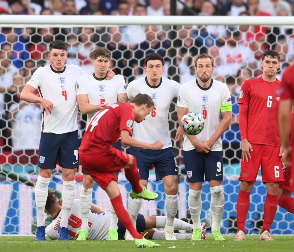 DAMSGAARD FOUL VS ENGLAND